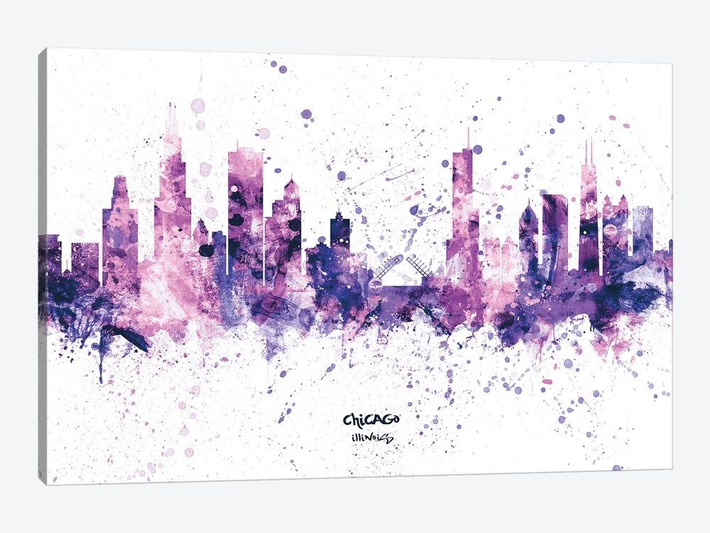 Chicago Illinois Skyline Splash Purple by Michael Tompsett 1-piece Canvas Print
