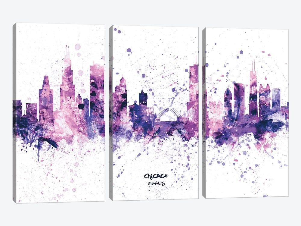 Chicago Illinois Skyline Splash Purple by Michael Tompsett 3-piece Canvas Art Print