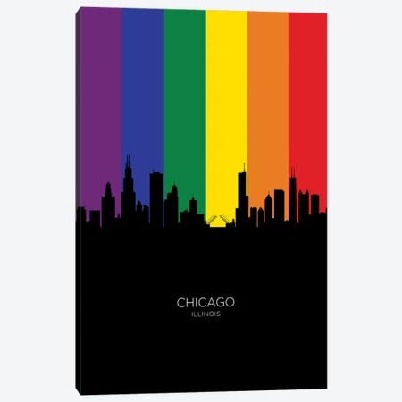 Chicago Illinois Skyline Rainbow Flag Canvas Print #MTO2455} by Michael Tompsett Canvas Wall Art