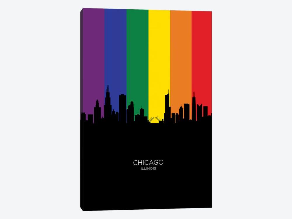Chicago Illinois Skyline Rainbow Flag by Michael Tompsett 1-piece Canvas Wall Art