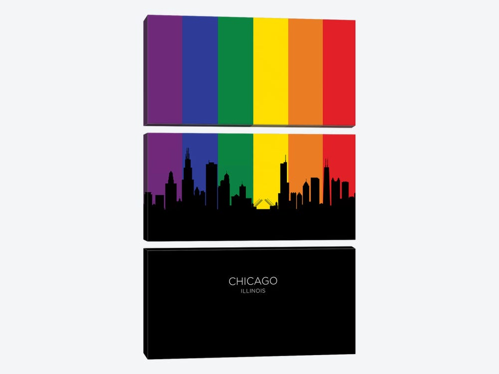 Chicago Illinois Skyline Rainbow Flag by Michael Tompsett 3-piece Canvas Artwork
