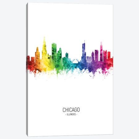 Chicago Illinois Skyline Rainbow Tall Canvas Print #MTO2456} by Michael Tompsett Canvas Wall Art