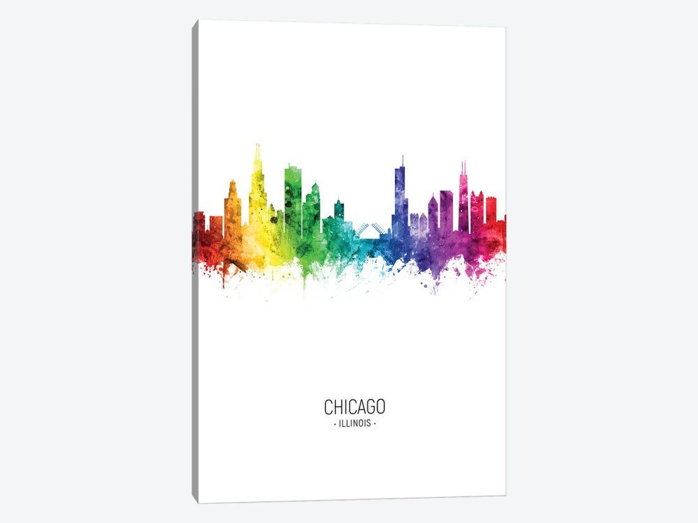 Chicago Illinois Skyline Rainbow Tall by Michael Tompsett 1-piece Canvas Art Print