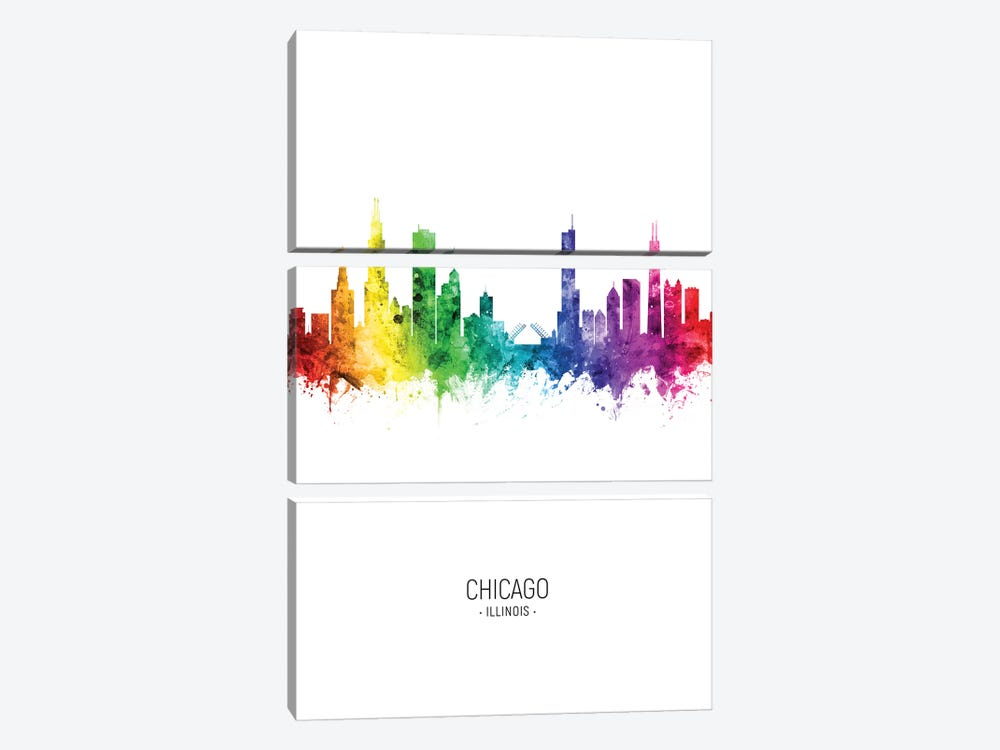 Chicago Illinois Skyline Rainbow Tall by Michael Tompsett 3-piece Canvas Art Print