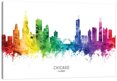 Chicago Illinois Skyline Rainbow Canvas Art Print