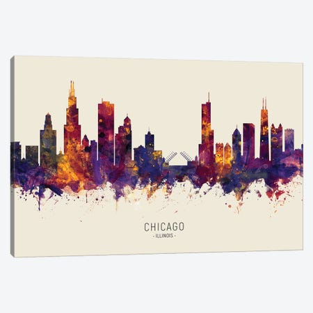 Chicago Illinois Skyline Red Beige Canvas Print #MTO2458} by Michael Tompsett Canvas Art Print