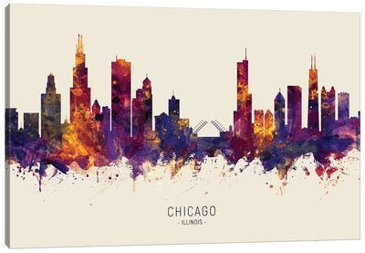 Chicago Illinois Skyline Red Beige Canvas Art Print