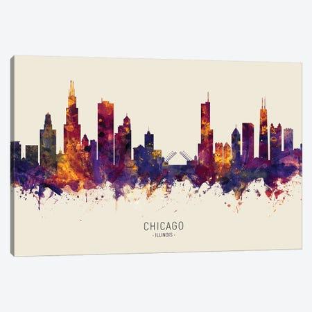 Chicago Illinois Skyline Red Beige Canvas Print #MTO2458} by Michael Tompsett Canvas Art Print