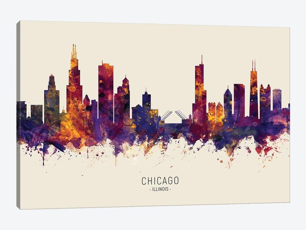 Chicago Illinois Skyline Red Beige by Michael Tompsett 1-piece Canvas Print