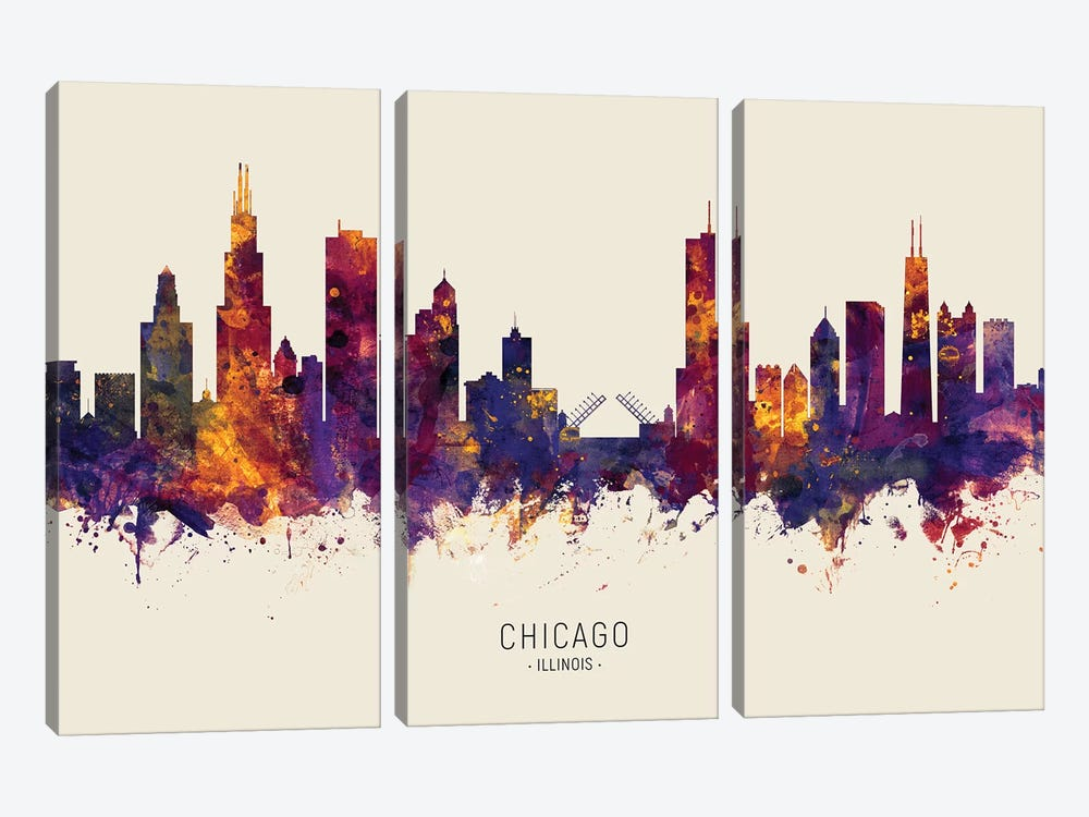 Chicago Illinois Skyline Red Beige by Michael Tompsett 3-piece Canvas Print