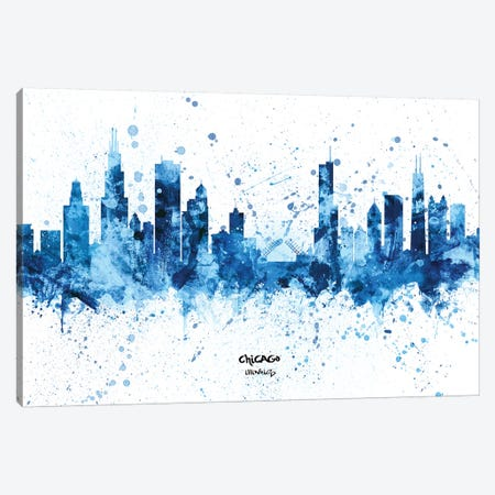 Chicago Illinois Skyline Splash Blue Canvas Print #MTO2459} by Michael Tompsett Canvas Print