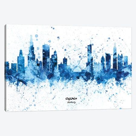 Chicago Illinois Skyline Splash Blue Canvas Print #MTO2459} by Michael Tompsett Canvas Print