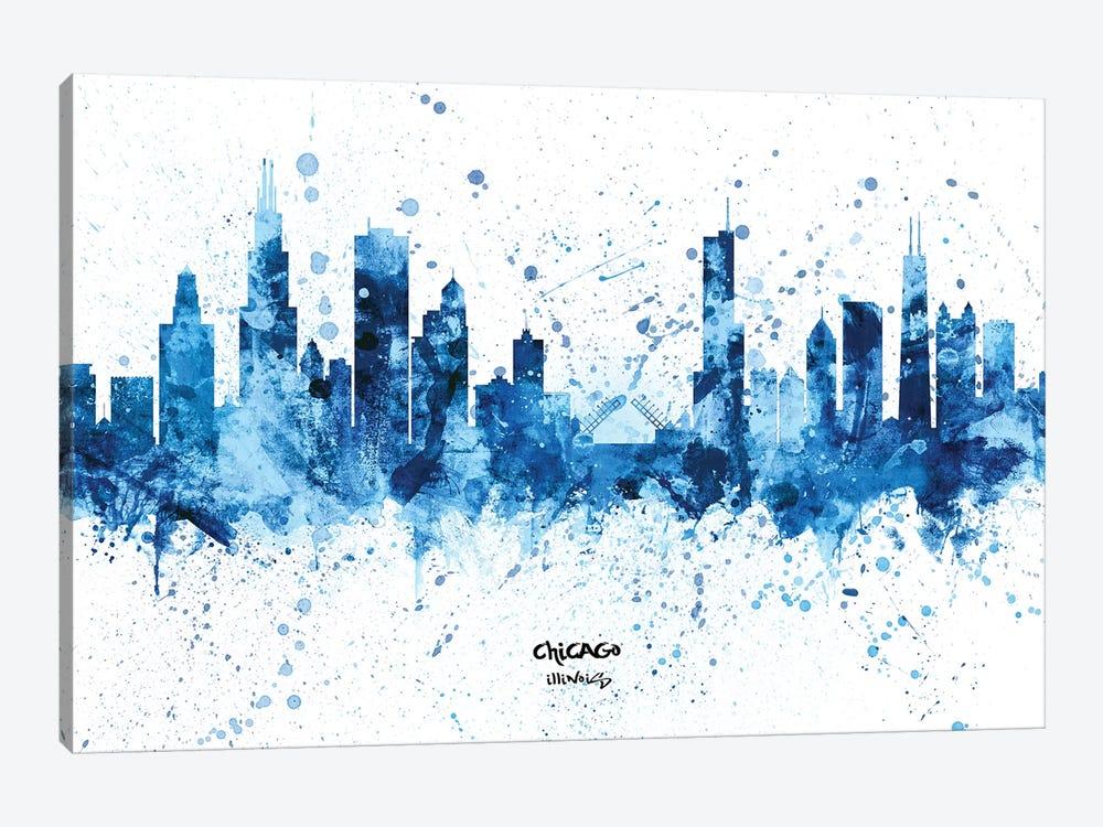 Chicago Illinois Skyline Splash Blue by Michael Tompsett 1-piece Canvas Artwork