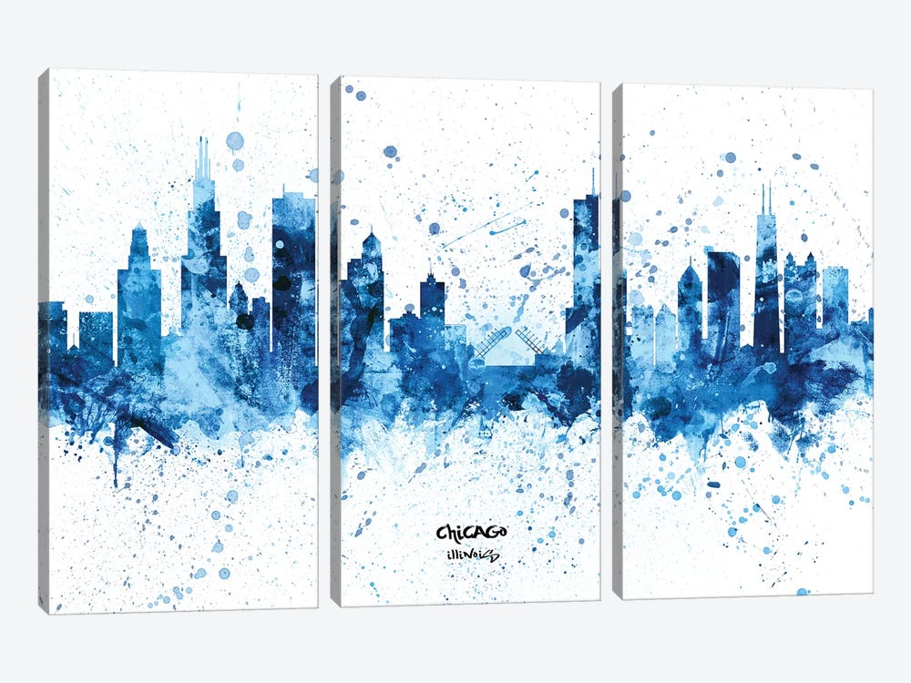 Chicago Illinois Skyline Splash Blue by Michael Tompsett 3-piece Canvas Artwork