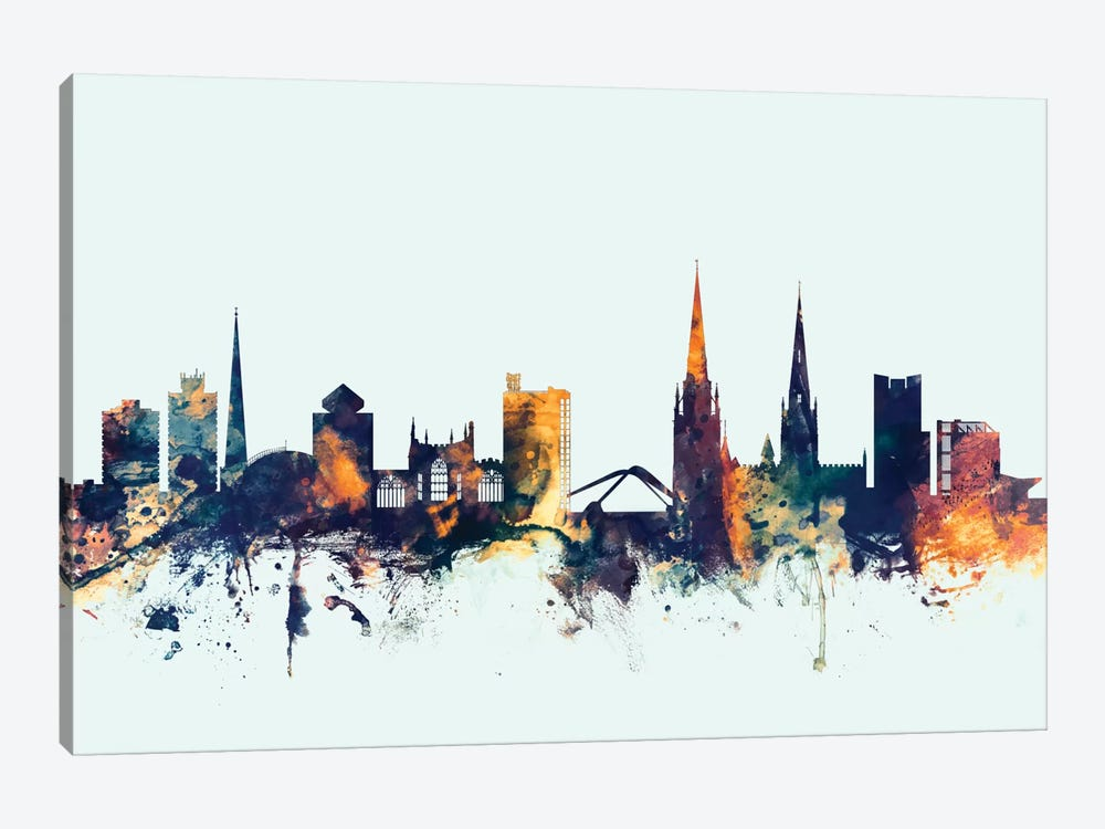 Skyline Series: Coventry, England, United Kingdom On Blue by Michael Tompsett 1-piece Canvas Print