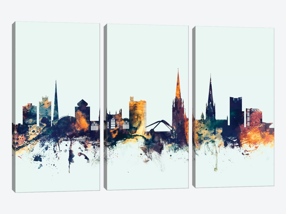 Skyline Series: Coventry, England, United Kingdom On Blue by Michael Tompsett 3-piece Canvas Print