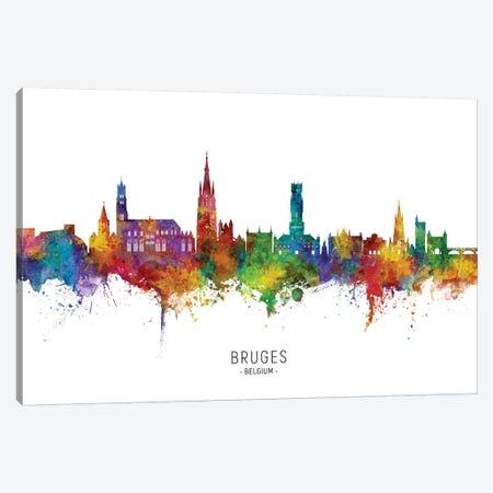 Bruges Belgium Skyline City Name Canvas Print #MTO2461} by Michael Tompsett Canvas Art
