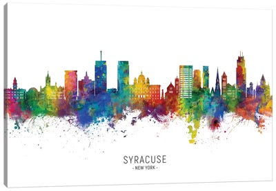 Syracuse New York Skyline City Name Canvas Art Print