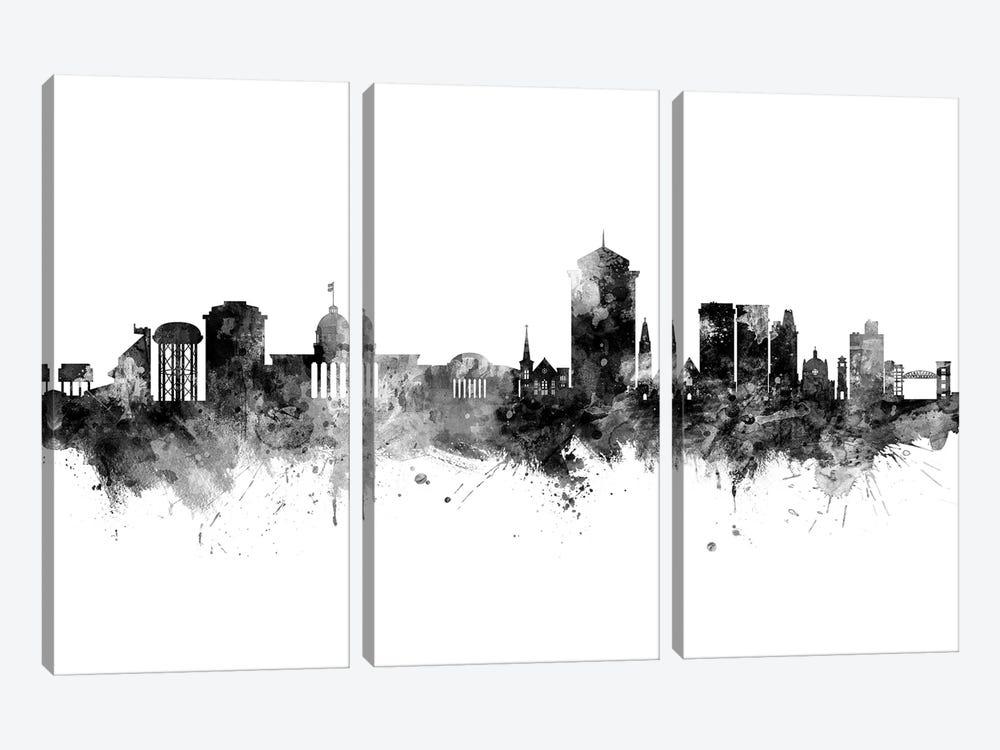 Montgomery Alabama Skyline Black And White by Michael Tompsett 3-piece Canvas Wall Art