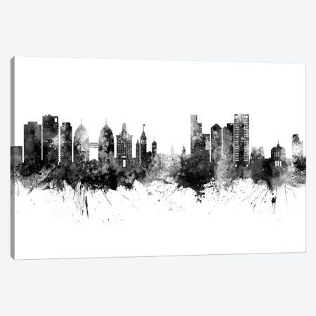 Oakland California Skyline Black And White Canvas Print #MTO2469} by Michael Tompsett Canvas Artwork