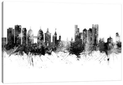Oakland California Skyline Black And White Canvas Art Print