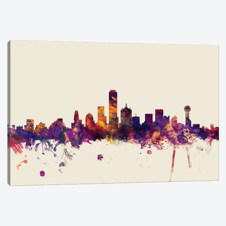 Dallas, Texas, USA On Beige Canvas Print #MTO246} by Michael Tompsett Canvas Artwork