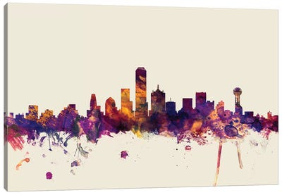 Skyline Series: Dallas, Texas, USA On Beige Canvas Art Print
