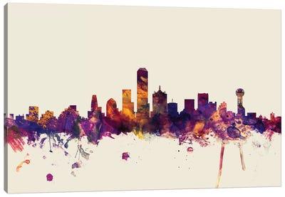 Skyline Series: Dallas, Texas, USA On Beige Canvas Print #MTO246