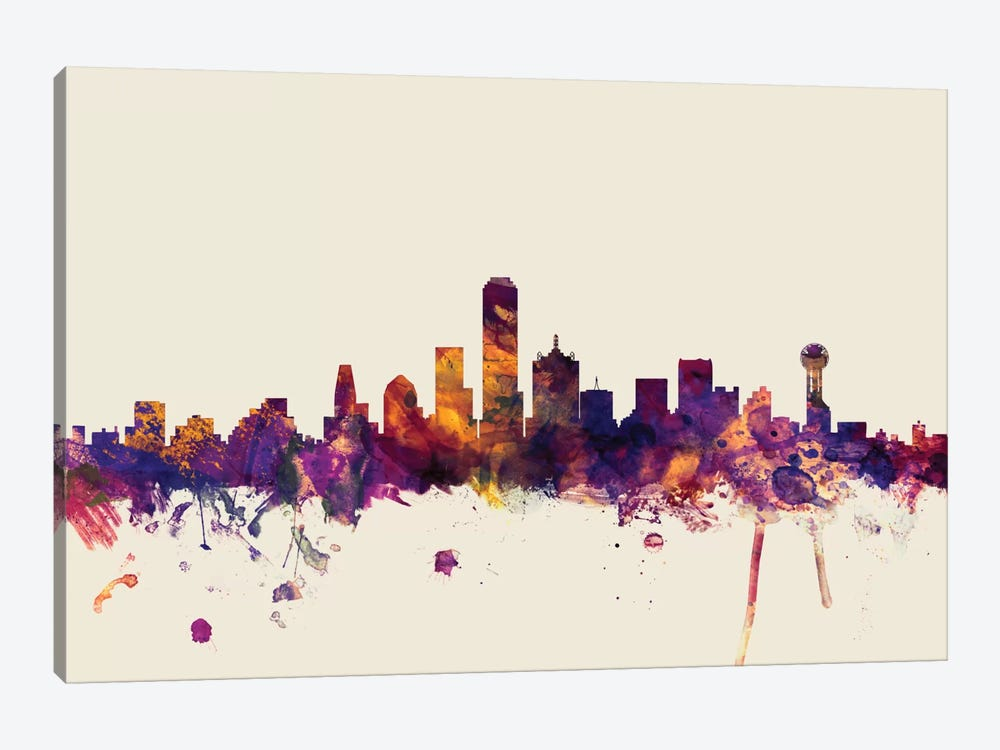 Dallas, Texas, USA On Beige by Michael Tompsett 1-piece Canvas Art