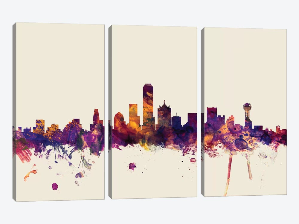 Dallas, Texas, USA On Beige by Michael Tompsett 3-piece Canvas Wall Art
