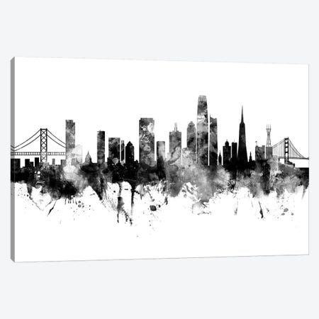 San Francisco California Skyline Black And White Canvas Print #MTO2470} by Michael Tompsett Canvas Art Print