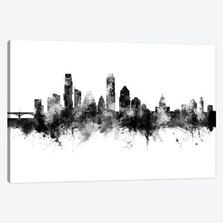 Austin Texas Skyline Black And White Canvas Print #MTO2471} by Michael Tompsett Canvas Art Print