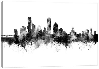 Austin Texas Skyline Black And White Canvas Art Print