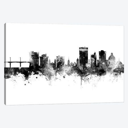 Asheville North Carolina Skyline Black And White Canvas Print #MTO2474} by Michael Tompsett Canvas Artwork