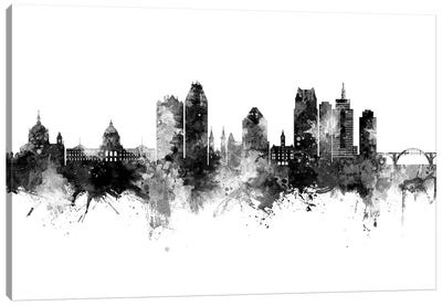 Saint Paul Minnesota Skyline Black And White Canvas Art Print