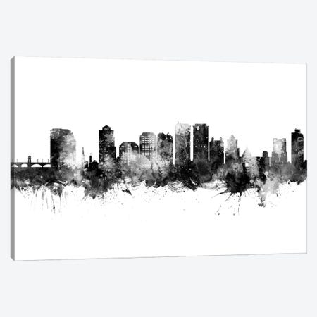 West Palm Beach Florida Skyline Black And White Canvas Print #MTO2479} by Michael Tompsett Art Print