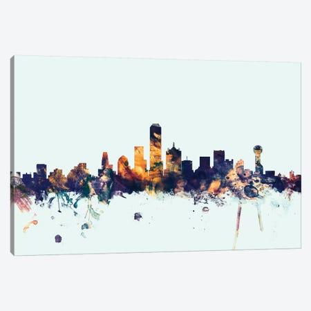 Dallas, Texas, USA On Blue 3-Piece Canvas #MTO247} by Michael Tompsett Canvas Artwork