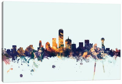 Dallas, Texas, USA On Blue Canvas Art Print