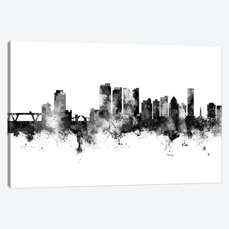Fort Lauderdale Florida Skyline Black And White Canvas Print #MTO2480} by Michael Tompsett Canvas Art