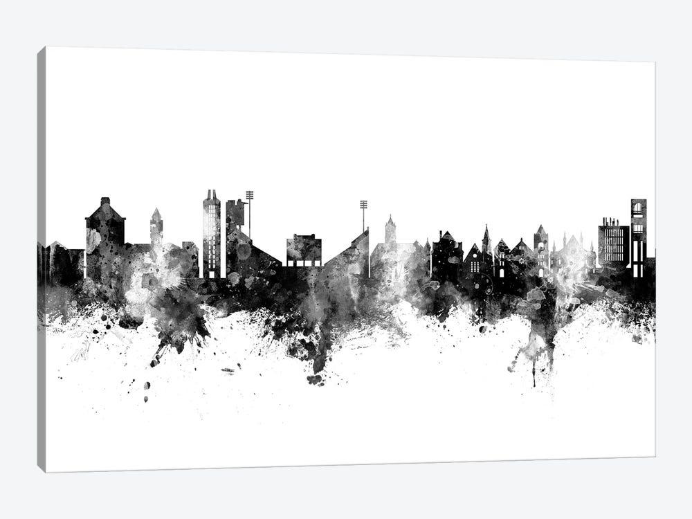 Lawrence Kansas Skyline Black And White by Michael Tompsett 1-piece Canvas Print