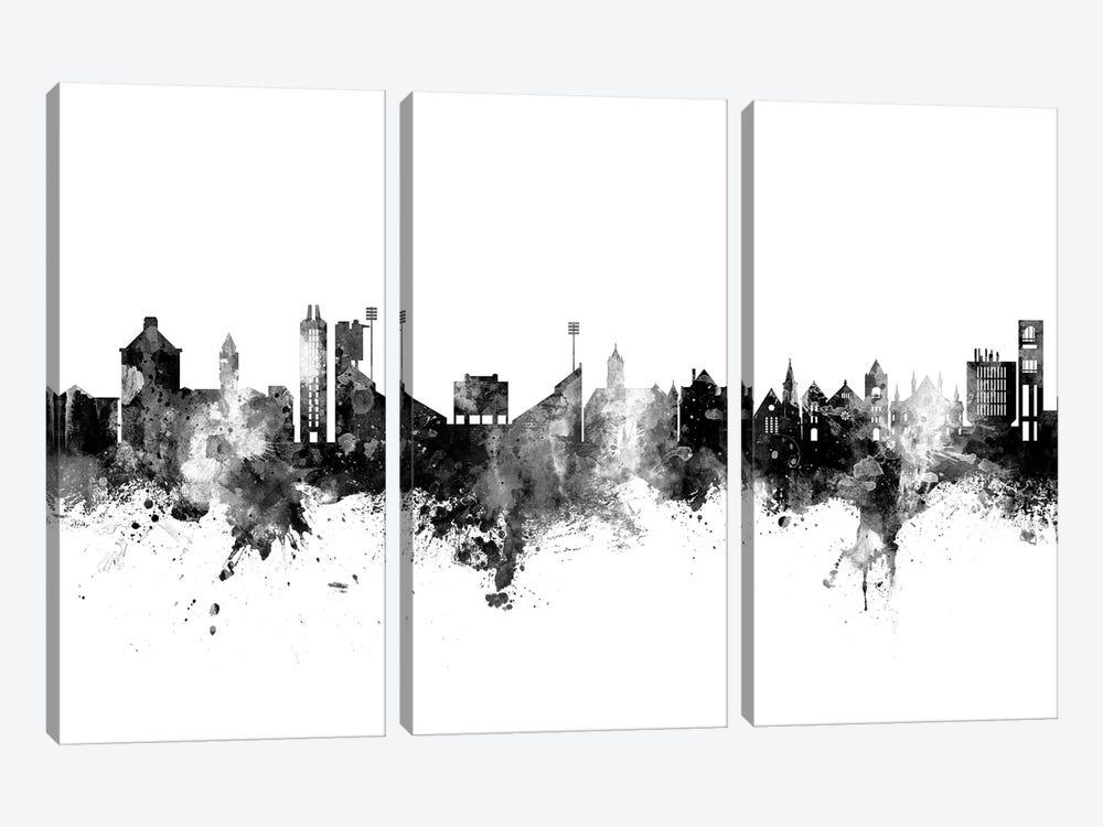 Lawrence Kansas Skyline Black And White by Michael Tompsett 3-piece Art Print