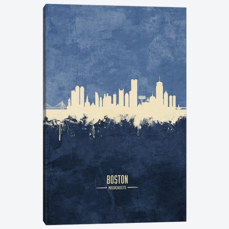 Boston Massachusetts Skyline Navy Canvas Print #MTO2482} by Michael Tompsett Canvas Artwork