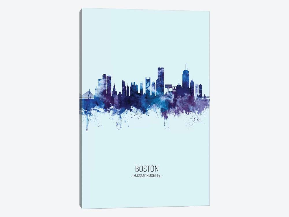 Boston Massachusetts Skyline Portrait Dark Blue by Michael Tompsett 1-piece Canvas Print