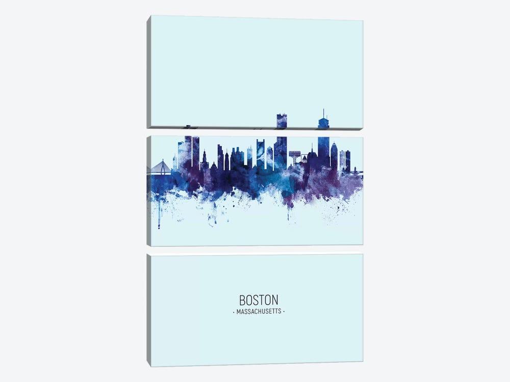 Boston Massachusetts Skyline Portrait Dark Blue by Michael Tompsett 3-piece Art Print