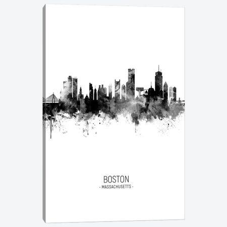 Boston Massachusetts Skyline Portrait Black And White Canvas Print #MTO2489} by Michael Tompsett Canvas Artwork
