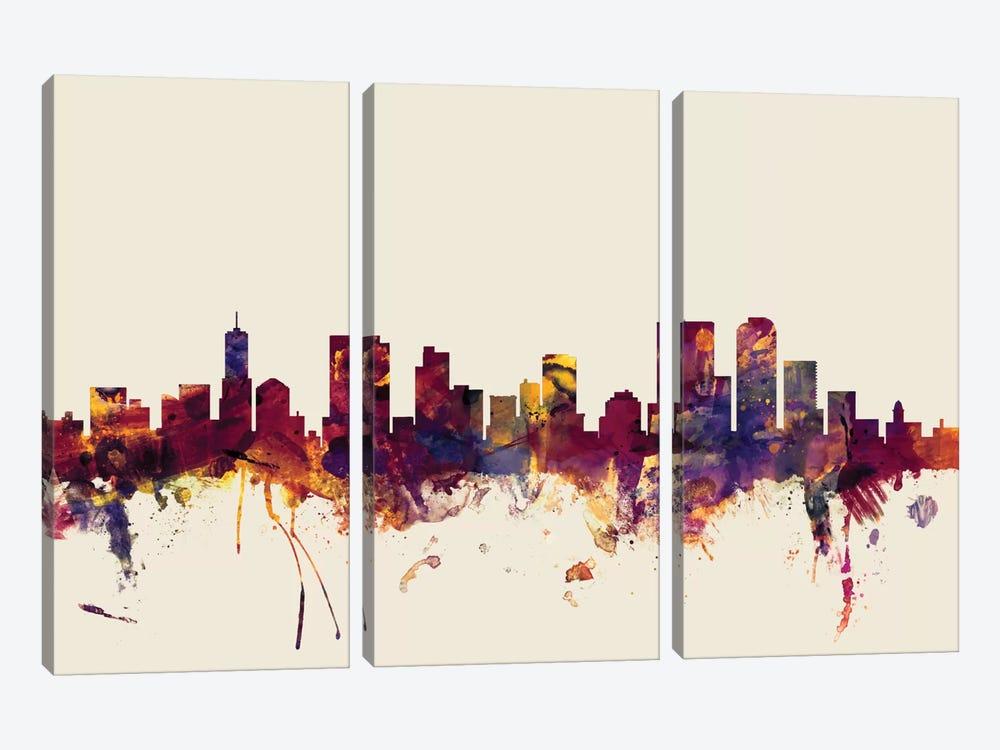 Denver, Colorado, USA On Beige by Michael Tompsett 3-piece Canvas Wall Art