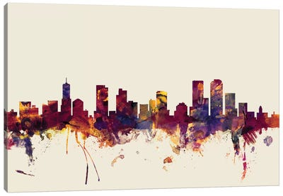 Skyline Series: Denver, Colorado, USA On Beige Canvas Art Print