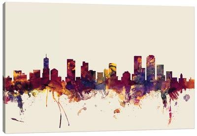 Skyline Series: Denver, Colorado, USA On Beige Canvas Print #MTO248