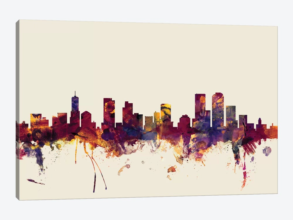 Skyline Series: Denver, Colorado, USA On Beige by Michael Tompsett 1-piece Canvas Art