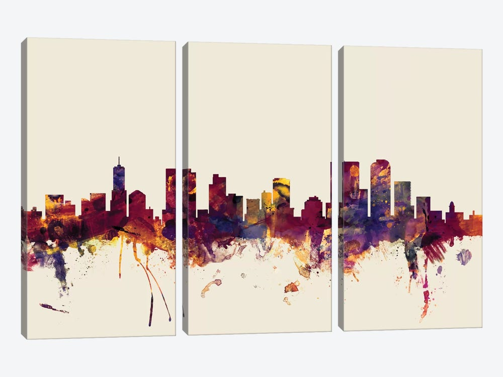 Skyline Series: Denver, Colorado, USA On Beige by Michael Tompsett 3-piece Canvas Wall Art